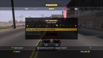 Activities Menu in Saints Row