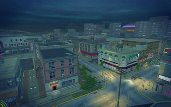 Bavogian Plaza in Saints Row 2 - aerial view