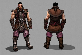 Johnny Gat Concept Art - Gat out of Hell Barbarian look - brown outfit, front and back