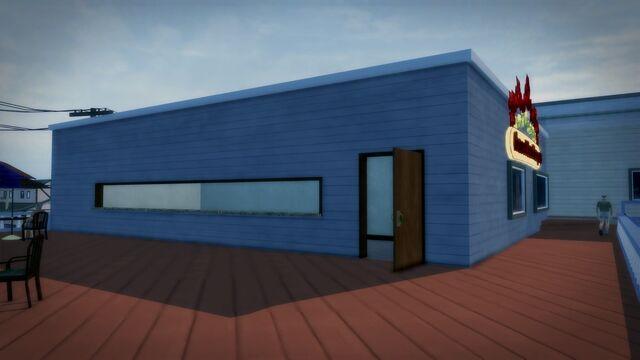 File:Charred Hard Burgers - Stilwater Boardwalk upstairs door to patio.jpg