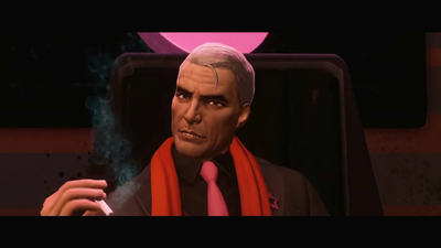 Phillipe Loren with white hair in Syndication trailer
