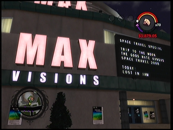 Max Visions exterior sign and movie list in Saints Row