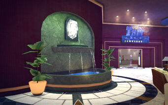 Huntersfield in Saints Row 2 - Hapton Hotel lobby fountain