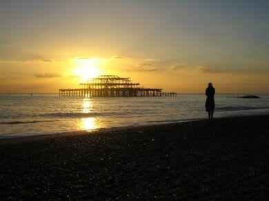 BrightonPierBurnedSunset1