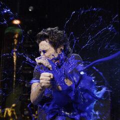 ...but J.D. escapes to the Blue Man Group show...