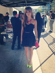 Bella-thorne-black-dress-with-coloured-necklace