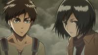 Eren and Mikasa entrust their lives to Armin