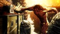 Titan Eren attacks Mikasa