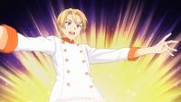 Takumi finishes his egg dish (anime)