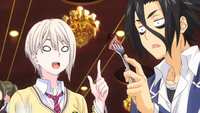Alice and Ryo enjoying dinner (anime)