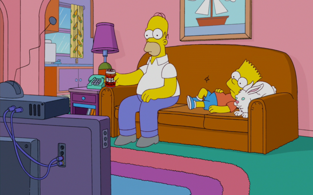 File:Homer, Bart and Rabbit watching TV.png
