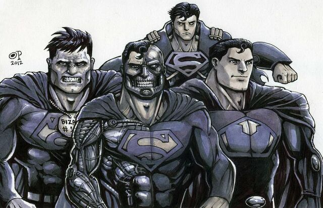 File:Superboy-Prime, Bizarro, Ultraman and Cyborg-Superman, the evil Men of Steel.jpg