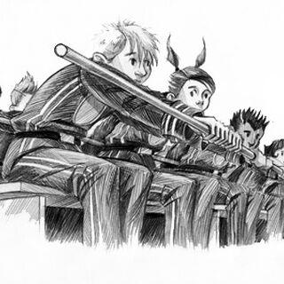 Kidnapped children rowing in the <i>Carmelita</i>