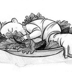 Sleeping in salad in the school cafeteria
