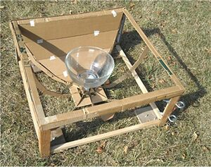Joel Goodman - Study model - Greenhouse type oven in lower nonimaging reflector frame