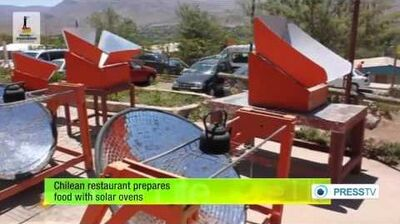 Chilean restaurant prepares food with solar ovens