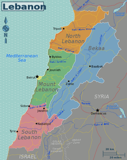 Lebanon map, 12-31-15
