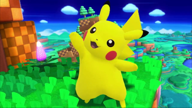 File:SSB4 Pikachu waving on Windy Hill.png