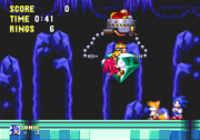 Knuckles trying to save the Master Emerald