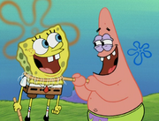 Spongebob and Patrick laughing