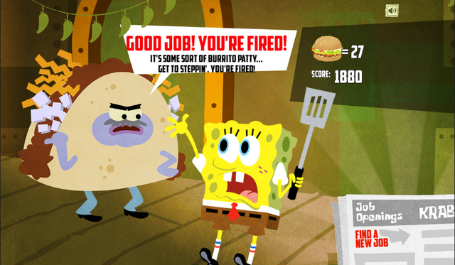 File:SpongeBob, You're Fired! (online game) - Good job! You're fired! (Señor Taco).png