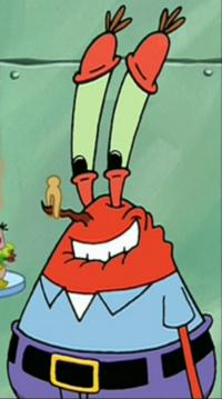 Mr. Krabs Wearing a Clothes Pin