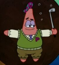 Patrick Wearing His Golf Uniform & Holding His Golf Club