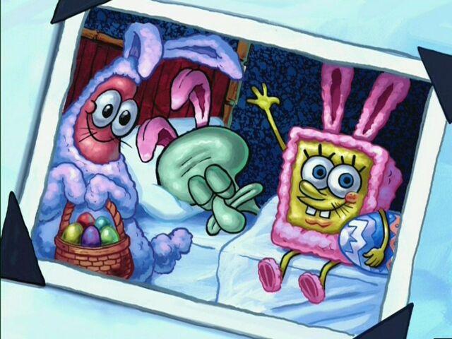 File:Picture Of Patrick, Squidward Sleeping, & Spongebob On Easter.jpg
