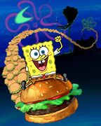 Spongebob on a big patty