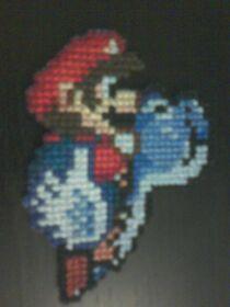 Mario on Blue Yoshi