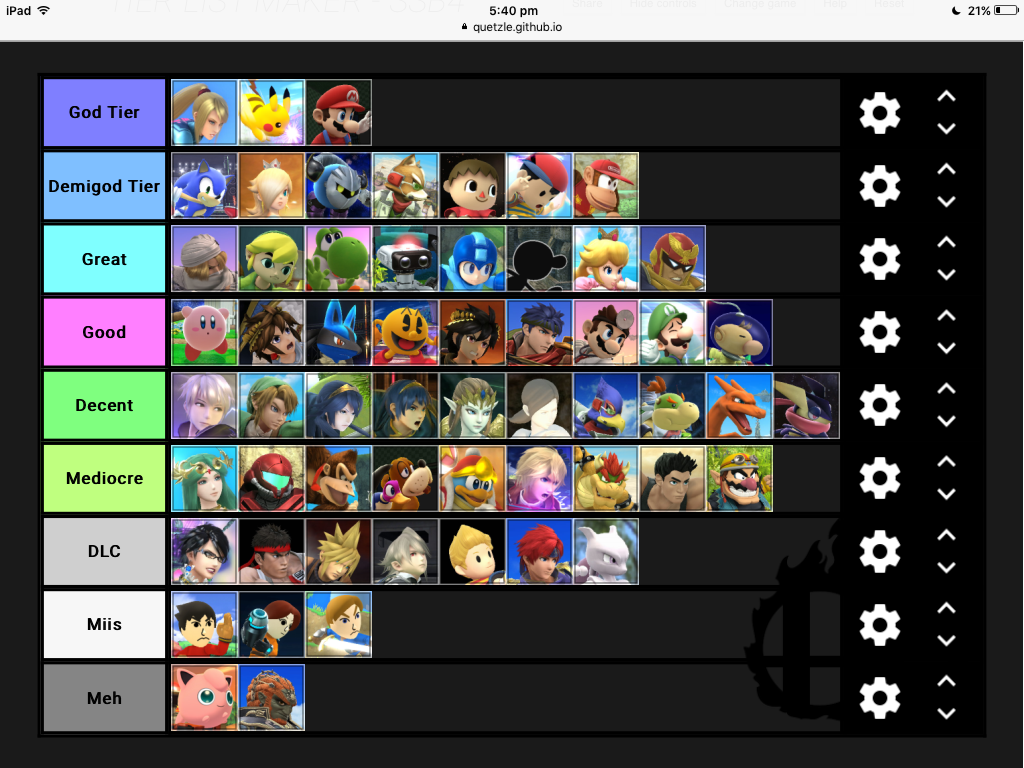 My Super Smash Bros Brawl Usage Tier List – Desenhos Para Colorir