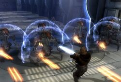 Star Wars Revenge of the Sith videogame Droidekas on Grevious Separatist Ship against Anakin