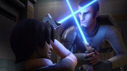 Kanan and Ezra lightsaber practice
