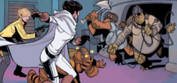 Evaan and Leia fight club guards
