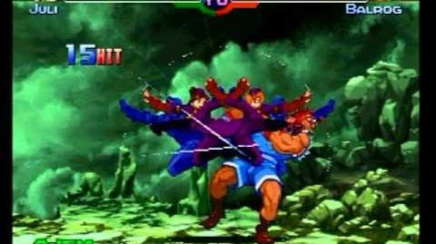 Street Fighter Alpha 3 - Juni & Juli's Death Cross Dancing super move with K.O