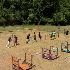 The castaways compete during the challenge.