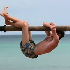 Nick competes for immunity.