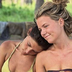Michele leans on Julia's shoulder.