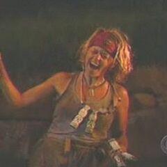 Kathy celebrates winning the final five immunity.