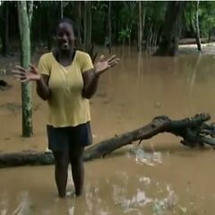 Cirie in the flooded Casaya camp.