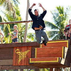 Jonas competing in the first Immunity Challenge.