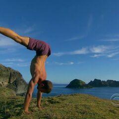 Vytas doing yoga at Tadhana's camp.