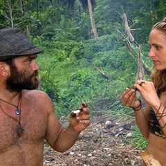 Candice with Russell at the merged tribe, <a href=