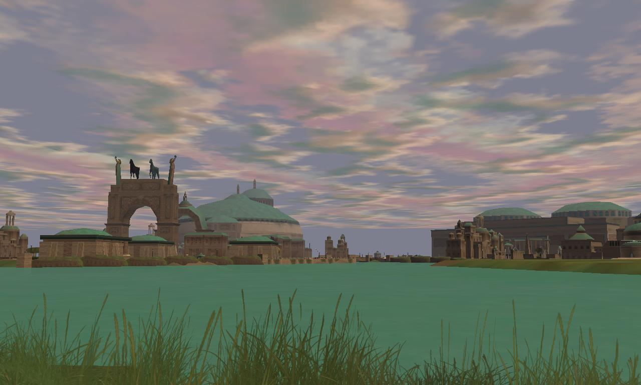 Theed  Naboo  with a view of  Naboo Falls