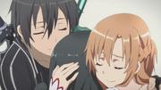 Kirito Asuna and Yui Hugging