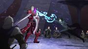 Kirito attacking Heathcliff with Rage Spike