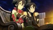 Sinon and Kirito eating in Hollow Area