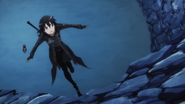 Kirito attempting to run up a wall