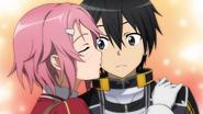 Lisbeth kisses Kirito on his cheek