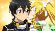 Leafa kissing Kirito on his cheek
